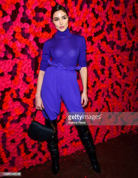Olivia Culpo poses at the Alice Olivia by Stacey Bendet FW19 Collection Presentation at at The Angel Orensanz Foundation on February 11 2019 in New...