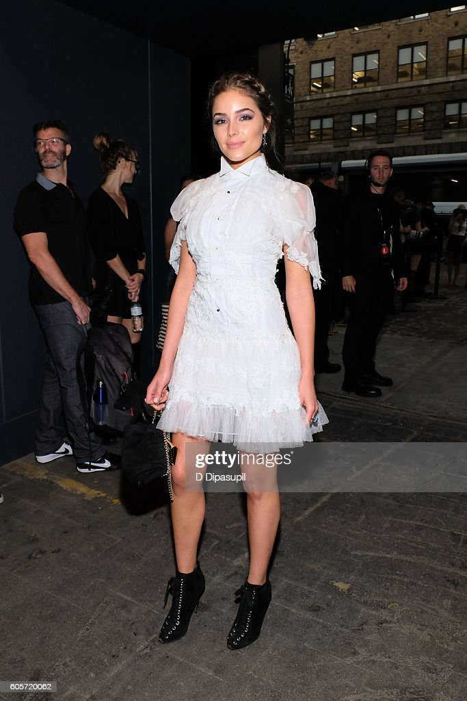 Olivia Culpo poses during New York Fashion Week: The Shows at Skylight at Moynihan Station on September 14, 2016 in New York City.