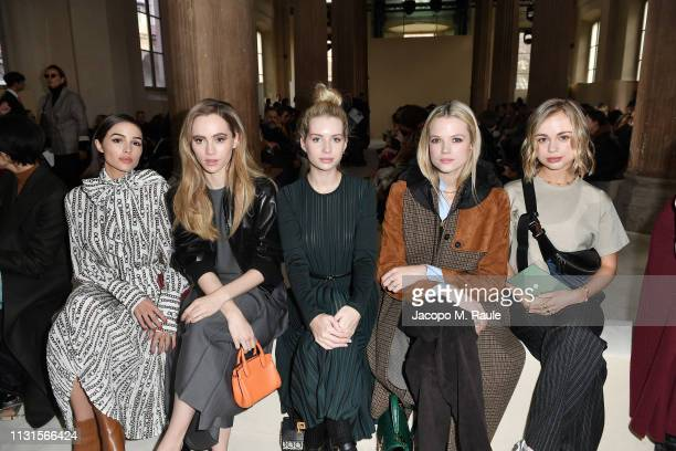 Olivia Culpo Suki Waterhouse Lottie Moss Gabriella Wilde and Lady Amelia Windsor attend the Salvatore Ferragamo show during Milan Fashion Week...