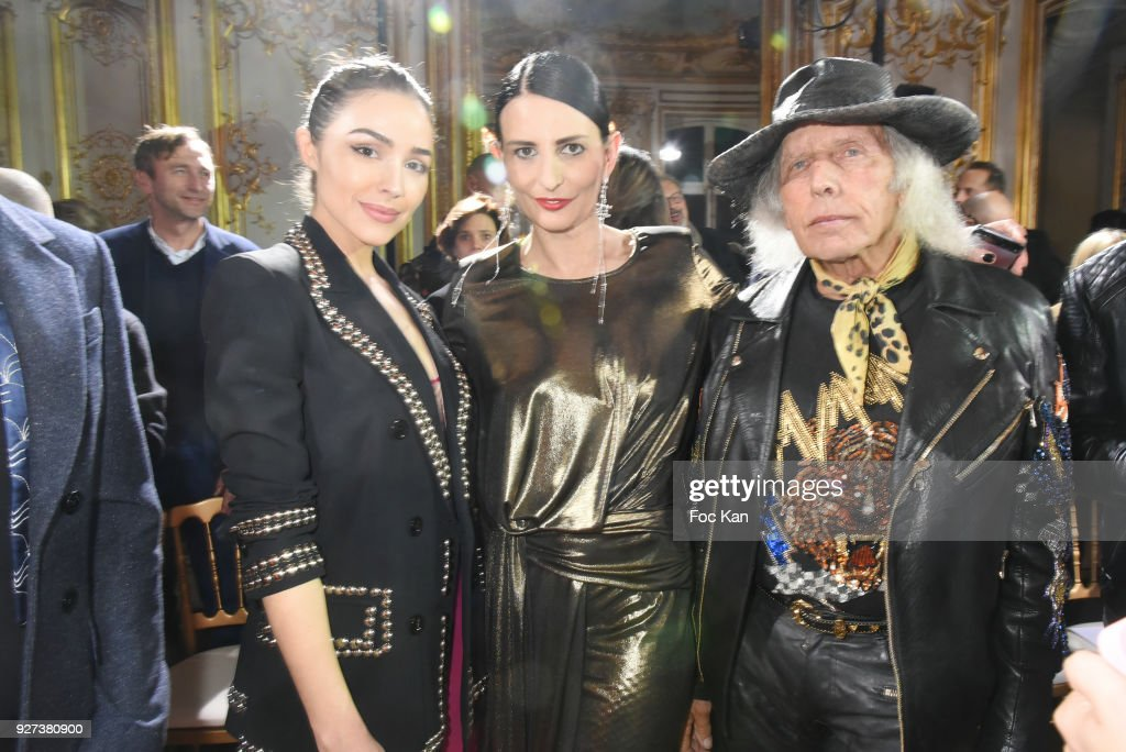 Olivia Culpo, Sylvie Ortega Munos and James Goldstein attend the John Galliano show as part of the Paris Fashion Week Womenswear Fall/Winter 2018/2019 on March 4, 2018 in Paris, France.