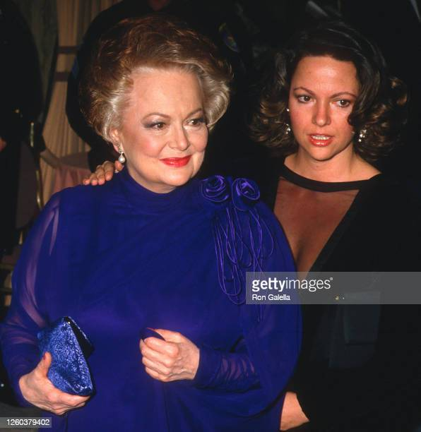 Olivia de Havilland and daughter Gisele Galante attend 44th Annual Golden Globe Awards at the Beverly Hilton Hotel in Beverly Hills California on...