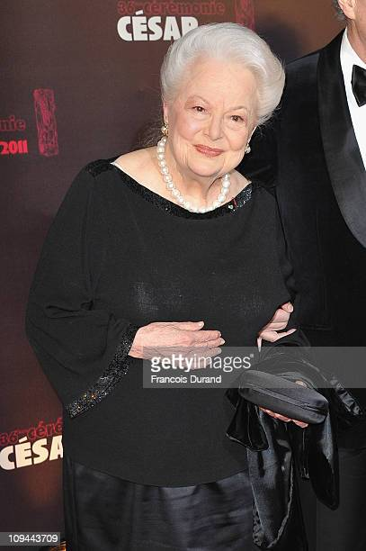 Olivia de Havilland arrives at the 36th French Cesar film awards ceremony at Theatre du Chatelet on February 25 2011 in Paris France