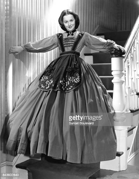 Olivia de Havilland on the set of 'Gone with the Wind' based on the novel by Margaret Mitchell and directed by Victor Fleming
