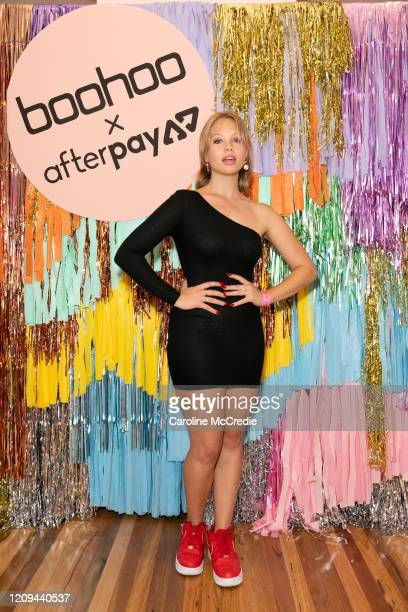 Olivia Deeble attends the Boohoo x AfterPay Mardi Gras Party on February 29 2020 in Sydney Australia