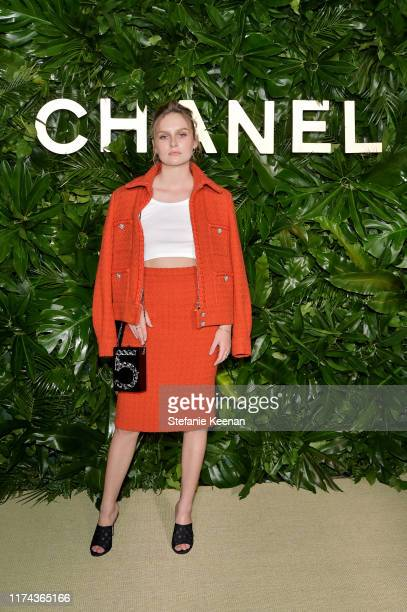 Olivia DeJongewearing CHANEL attends Chanel Dinner Celebrating Gabrielle Chanel Essence With Margot Robbie on September 12 2019 in Los Angeles...