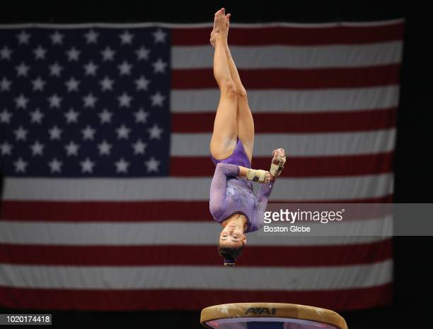 Olivia Dunne competes on the vault during the US senior women's competition at the US Gymnastics Championships at TD Garden in Boston on Aug 17 2018