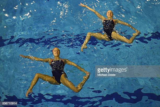 Olivia Federici and Katie Clark during a training session at Garrison Leisure Centre after being announced as the Team GB athletes to compete in the...