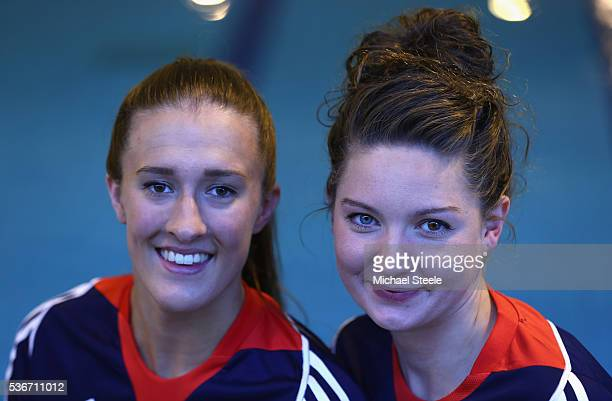 Olivia Federici and Katie Clark pose at a media event at Garrison Leisure Centre after being announced as the Team GB athletes to compete in the...