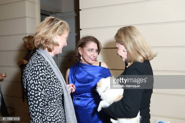 Olivia Flatto Muna Rihani AlNasser and Susan Gutfreund during the Susan Gutfreund Hosts UN Women For Peace Association Reception on February 12 2018...