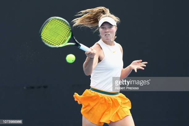 Olivia Gadecki plays a forehand in her match against Anastasia Berezov during the 2018 16/u Australian Championships at Melbourne Park on December 16...
