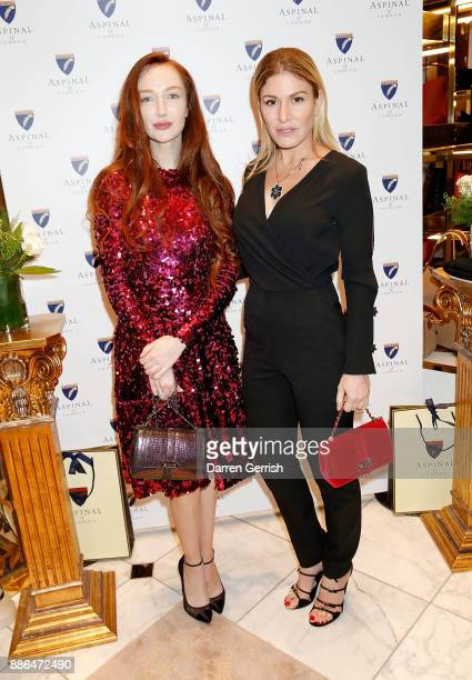 Olivia Grant and Hofit Golan attend the new flagship store launch of Aspinal on Regent's Street St James's on December 5 2017 in London England