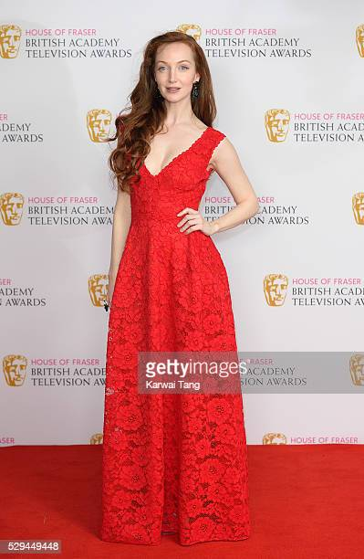 Olivia Grant poses in the winners room at the House Of Fraser British Academy Television Awards 2016 at the Royal Festival Hall on May 8 2016 in...
