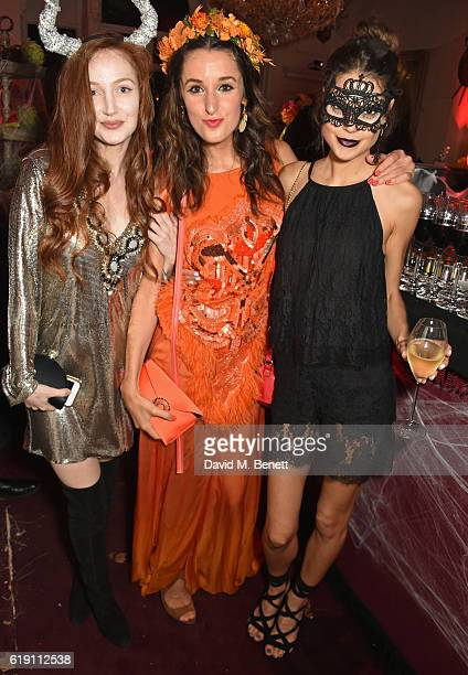 Olivia Grant Rosanna Falconer and Sarah Ann Macklin attend Halloween at Annabel's at 46 Berkeley Square on October 29 2016 in London England