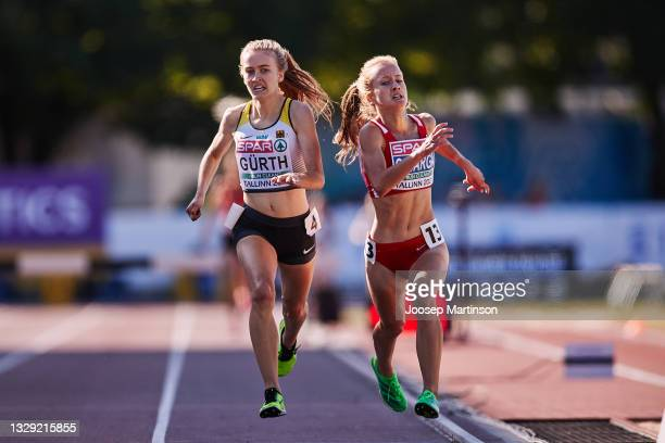 Olivia Gürth of Germany and Greta Varga of Hungary battle for gold in the Women's 3000m Steeplechase Race during European Athletics U20 Championships...