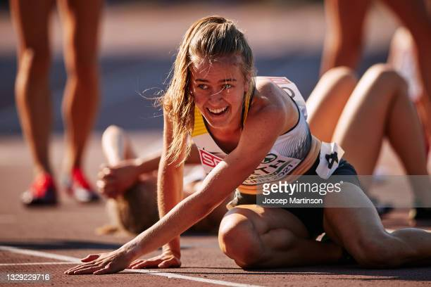 Olivia Gürth of Germany reacts in the Women's 3000m Steeplechase Race during European Athletics U20 Championships Day 3 at Kadriorg Stadium on July...