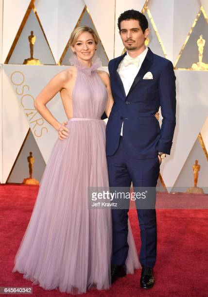 Olivia Hamilton and director Damien Chazelle with a JaegerLeCoultre timepiece attend the 89th Annual Academy Awards at Hollywood Highland Center on...