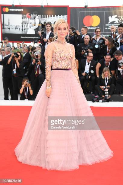 Olivia Hamilton walks the red carpet ahead of the opening ceremony and the 'First Man' screening during the 75th Venice Film Festival at Sala Grande...
