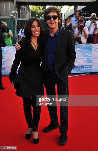 """Olivia Harrison and Sir Paul McCartney attend the """"George Harrison: Living In The Material World"""" UK premiere at BFI Southbank on October 2, 2011 in..."""
