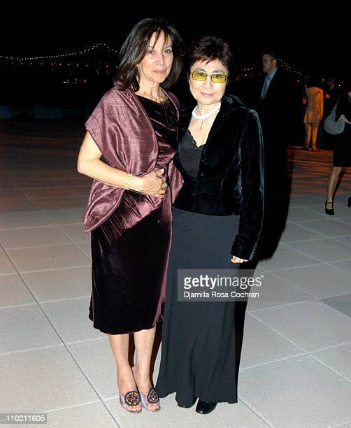 Olivia Harrison and Yoko Ono during LennonOno Grant For Peace at United Nations in New York City New York United States
