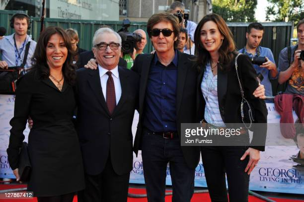 """Olivia Harrison, director Martin Scorsese, Sir Paul McCartney and Nancy Shevell attend the """"George Harrison: Living In The Material World"""" UK..."""