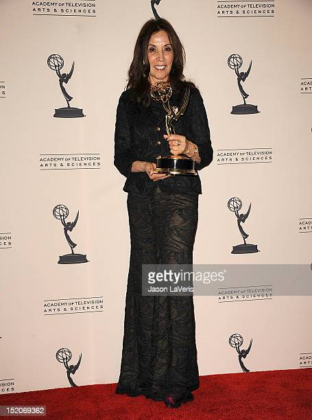 Olivia Harrison poses in the press room at the 2012 Primetime Creative Arts Emmy Awards at Nokia Theatre LA Live on September 15 2012 in Los Angeles...