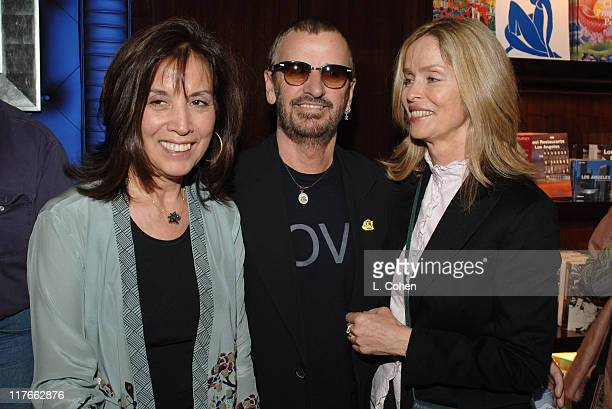 Olivia Harrison Ringo Starr and Barbara Bach during Olivia Harrison Signs Her Book Concert for George March 15 2005 at Taschen in Beverly Hills...
