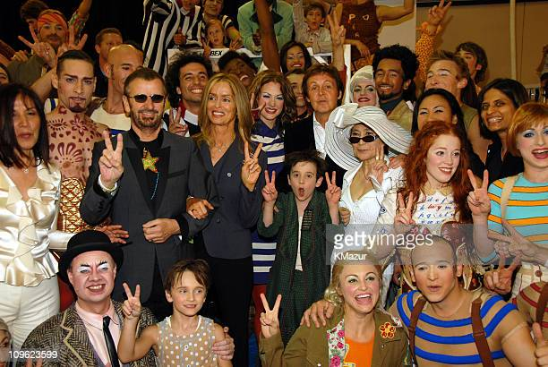 Olivia Harrison Ringo Starr Barbara Bach Sir Paul McCartney and Yoko Ono with Cirque du Soleil LOVE cast members *EXCLUSIVE*