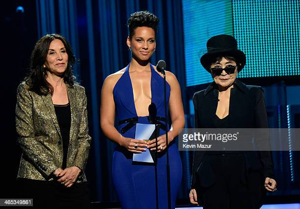 Olivia Harrison singer Alicia Keys and musician Yoko Ono onstage during the 56th GRAMMY Awards at Staples Center on January 26 2014 in Los Angeles...