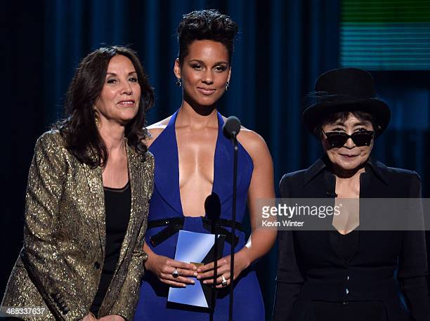 Olivia Harrison singer Alicia Keys and musician Yoko Ono speak onstage during the 56th GRAMMY Awards at Staples Center on January 26 2014 in Los...