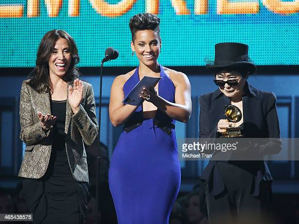 Olivia Harrison singer Alicia Keys and musician Yoko Ono speak onstage during the 56th GRAMMY Awards held at Staples Center on January 26 2014 in Los...