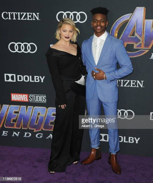 Olivia Holt and Aubrey Joseph arrive for the World Premiere Of Walt Disney Studios Motion Pictures Avengers Endgame held at Los Angeles Convention...