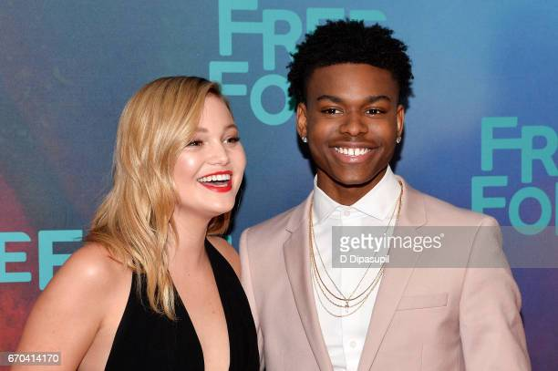 Olivia Holt and Aubrey Joseph attend the Freeform 2017 Upfront at Hudson Mercantile on April 19 2017 in New York City