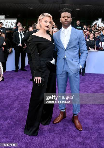 Olivia Holt and Aubrey Joseph attend the Los Angeles World Premiere of Marvel Studios' Avengers Endgame at the Los Angeles Convention Center on April...