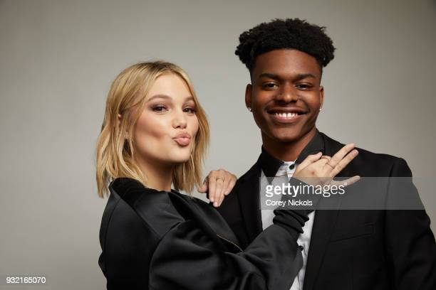 Olivia Holt and Aubrey Joseph from 'Marvel's Cloak Dagger' pose for a portrait in the Getty Images Portrait Studio Powered by Pizza Hut at the 2018...