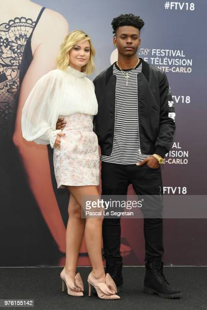 Olivia Holt and Aubrey Joseph from the serie Cloak and Dagger attend a photocall during the 58th Monte Carlo TV Festival on June 16 2018 in...