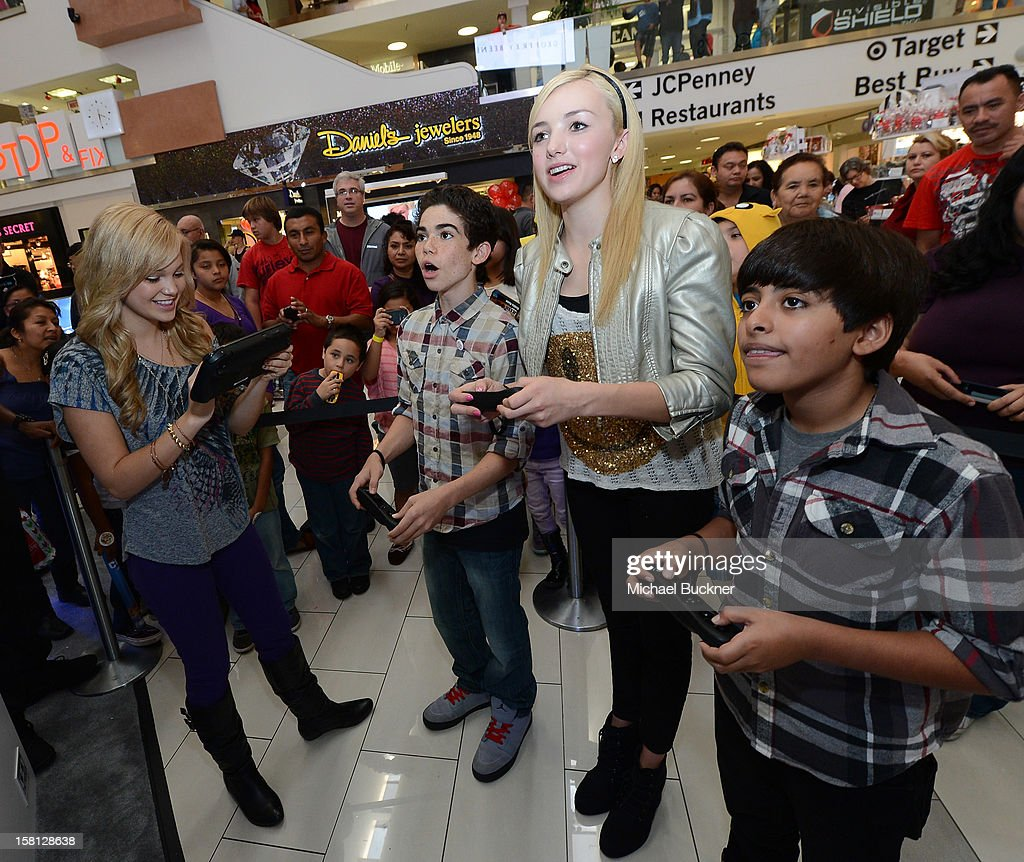 Olivia Holt, Cameron Boyce, Peyton List and Karan Brar stars of Disney Channel's hit series 'Jessie' battle in the Wii U Showdown at Westfield Century City Mall in Los Angeles on December 9, 2012. Wii U is one of Nintendo's hottest items of the holiday season.