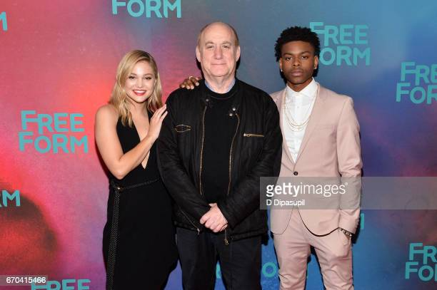 Olivia Holt Jeph Loeb and Aubrey Joseph attend the Freeform 2017 Upfront at Hudson Mercantile on April 19 2017 in New York City