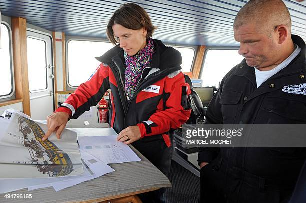 Olivia Hulot , of the French Culture ministry's underwater archaeology department DRASSM and David Brossard , skipper of the underwater research boat...