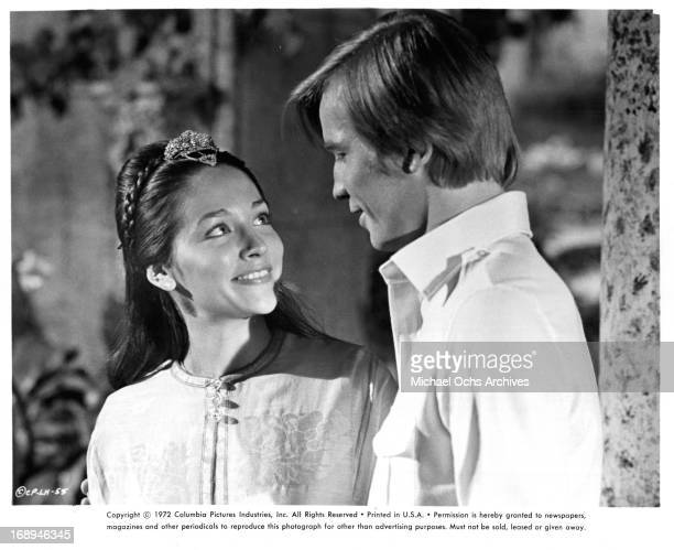 Olivia Hussey and Michael York in a scene from the film 'Lost Horizon', 1973.