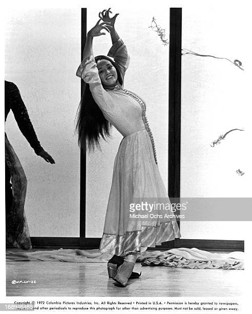 Olivia Hussey dances in a scene from the film 'Lost Horizon' 1973