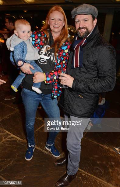 Olivia Inge with daughter Jemima and Peter Davies attend The Ivy Chelsea Garden's annual Guy Fawkes party on November 4 2018 in London England