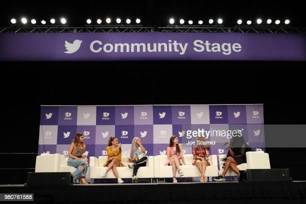 Olivia Jade Adelaine Morin Eva Gutowski Meg DeAngelisRosanna Pansino and Chrystina Woody Train speak onstage during the 'Where my Girls At' panel at...
