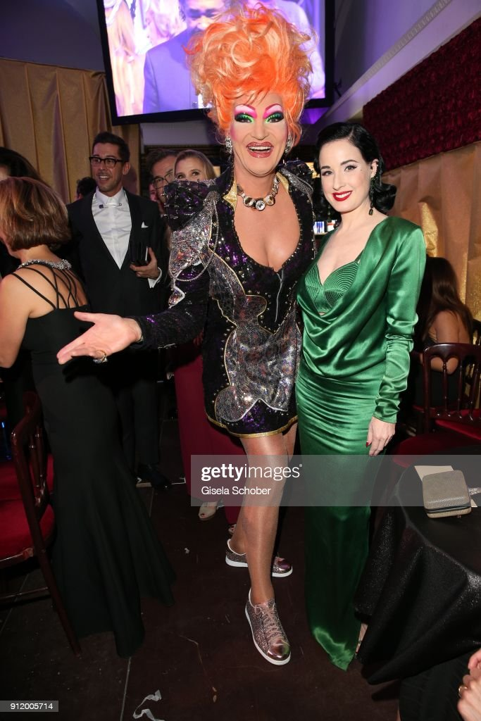 Olivia Jones and Dita von Teese during the 20th Lambertz Monday Night 2018 ( Schokoparty ) at Alter Wartesaal on January 29, 2018 in Cologne, Germany.