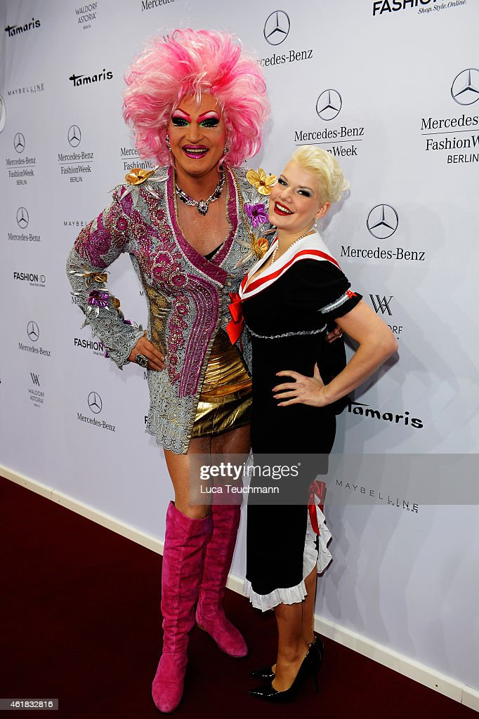 Olivia Jones and Melanie Mueller attend the Riani show during the Mercedes-Benz Fashion Week Berlin Autumn/Winter 2015/16 at Brandenburg Gate on January 20, 2015 in Berlin, Germany.