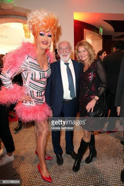 Olivia Jones Dieter Didi Hallervorden and his girlfriend Christiane Zander during the Movie Meets Media MMM event on the occasion of the 68th...