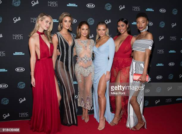 Olivia Jordan Allie Ayers Haley Kalil Camille Kostek Tabria Majors and Iyonna Fairbanks attend the 2018 Sports Illustrated Swimsuit Issue Launch...