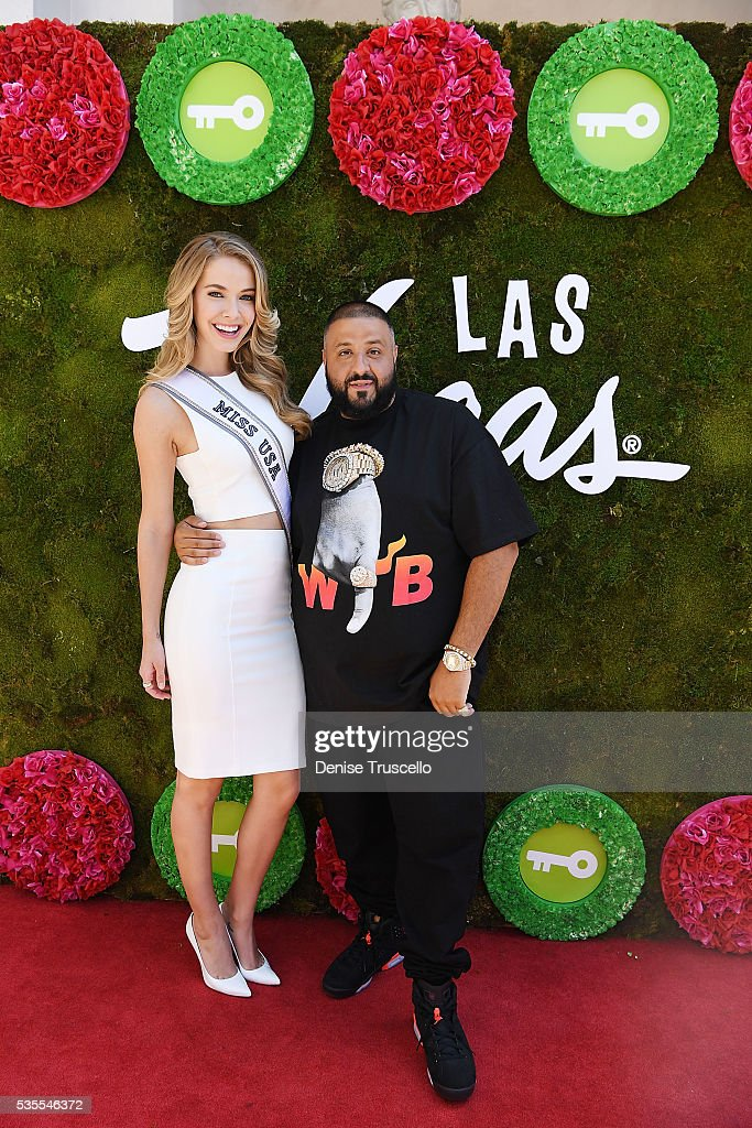 Olivia Jordan and DJ Khaled attend ceremony presenting DJ Khaled a key to the Las Vegas strip and the launch of official snapchat channel at the Venetian Hotel and Casino on May 29, 2016 in Las Vegas, Nevada.