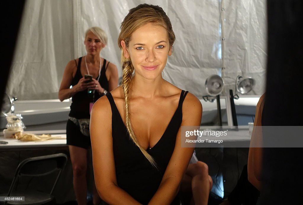 Olivia Jordan is seen backstage at Belusso fashion show during Mercedes-Benz Fashion Week Swim 2015 at Oasis at the Raleigh Hotel on July 20, 2014 in Miami, Florida.