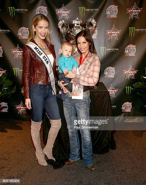 Olivia Jordan Miss USA 2015 and TV personality Jill Nicolini attend 2016 Professional Bull Riders Denim Diamonds Party at Madison Square Garden on...