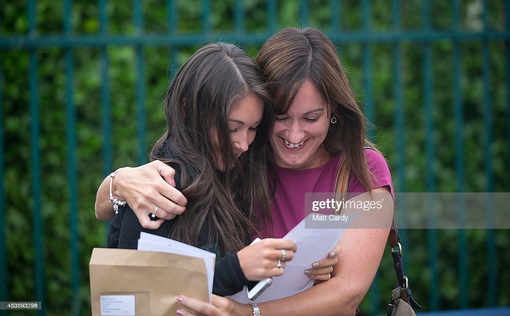 Students Throughout The UK Receive Their A Level Results : News Photo